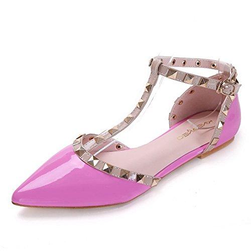 AalarDom Damen Spitz Zehe Schnalle Ohne Absatz Gemischte Farbe Flache Schuhe Pink-Nietbolzen