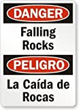Roca Labs Best Deals - Riuolo 3M Diamond Grade Reflective Aluminum Sign, Legend Danger: Falling Rocks, Peligro La Caida De Rocas, 18 High X 12 Wide Inch, Black/Red on White