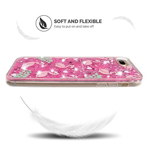 Funda iPhone 7 Plus, iPhone 7 Plus Funda Silicona, SpiritSun Soft Carcasa Funda Bling Bling Funda Carcasas para iPhone 7 Plus (5.5 pulgadas) Lujo Glitter Líquido Carcasa Ultra Delgado y Ligero Flexibl Grúa y Hojas