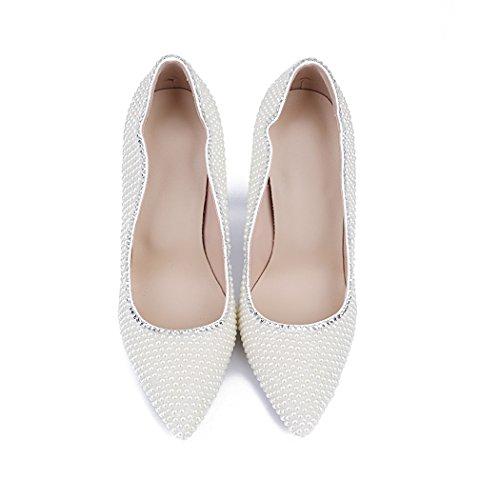 Plateau Keilabsatz Minitoo Durchgängies Damen Sandalen mit Weiß xXwOEwq8H