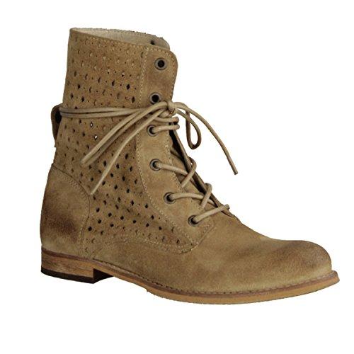 Shoot SH14141 - Zapatos mujer moderno Botines, Beige, terciopelo, altura de tacón : 10 mm