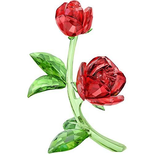 Red Rose Figurine - Swarovski Red Rose Clear