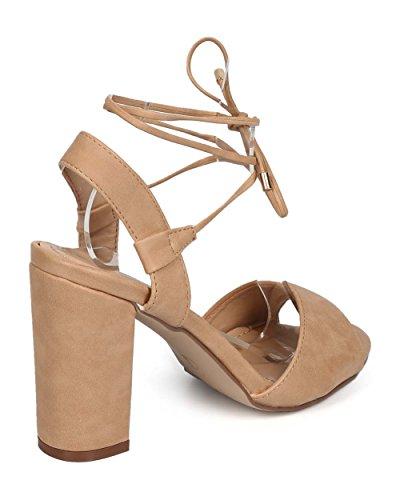 Breckelles Ee02 Kvinner Leather Peep Toe Wrap Lav Slingback Sandal Naturlig