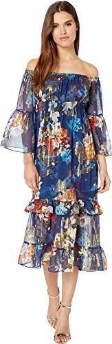 Nicole Miller Women's Off The Shoulder Dress Navy Multi Small ()
