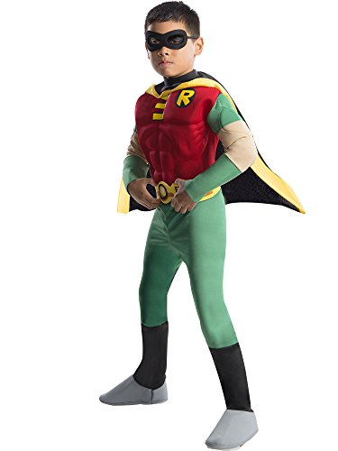 Rubies DC Comics Teen Titans Deluxe Muscle Chest Robin Costume, Medium ()