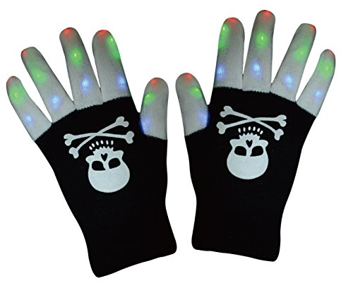 LED Glove Finger Lights, Glowing Flashing Gloves 6 Modes with Skull Printing For Halloween Costume Christmas Dance Dubstep Party Birthday (Black/White) iWireless USA (Using Old Dance Costumes For Halloween)
