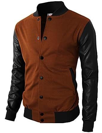 H2H Mens Warable Well Fit Varsity Baseball Letterman Jacket of Brown US S/Asia M (KMOJA0132)
