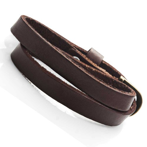 Dark Brown Wrap - Stunning Dark Brown Leather Wrap Around Bracelet for Him and Her, Unisex (Resizable)