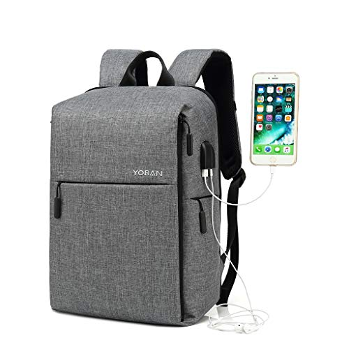 15.6 Inch Laptop Backpack,Waterproof Daypack with USB Charging Port,School Bookpack with Earphone Hole for Boys & Girls,Anti-Theft Business Backpacks for Men & Women Grey