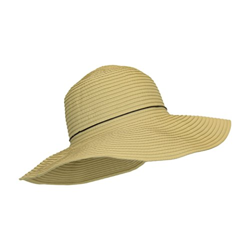 Camel Beige Natural Ribbon Crusher Sun Hat, 4 in. Shapeable Brim, SPF UPF 50 UV, One Size (Crusher Ribbon Hat)