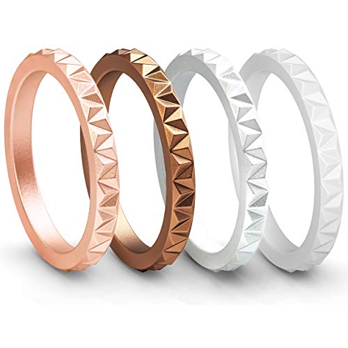 - ThunderFit Womens Triangle Diamond Stackable Rings 4 Pack Thin Silicone Wedding Rings