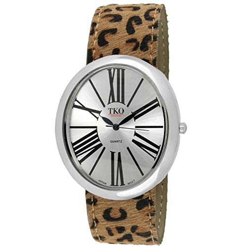 - TKO Women Oversized Oval Wrist Slap Watch with Roman Numerals & Animal Prints Slip-On Bracelet with Magnetic Closure