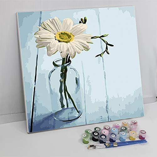 "Framed Paint by Number Color Angel DIY Oil Acrylic Paint by Numbers for Kids Sized 12""X16"" Painting on Canvas with Frame for Home Decoration(White Flower)"