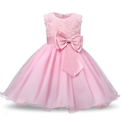 Tueenhuge Girls Princess Dress 3D Flower Baby Toddler Wedding Bridesmaid Party Formal Dress