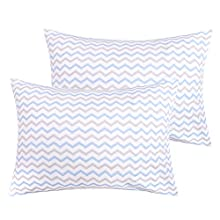 NTBAY Cotton Toddler Pillowcases, 2 Pack Soft and Breathable Travel Pillow Cases, 13 x 18 Inches, Blue Wave