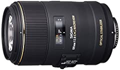 The Sigma 105mm f/2.8 EX DG OS HSM Macro Lens for Nikon DSLR Cameras offers advanced performance of close-up photography. The OS (Optical Stabilizer) system enables handheld close-up photography. A Special Low Dispersion (SLD) lens and one hi...