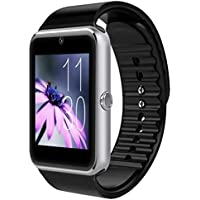 Derta H1 Smart Watch for iOS and Android - Silver, Black Strap