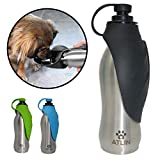 ATLIN Closeout Sale - Dog Water Bottle - 304 Stainless Steel and Silicone - Leak-Proof Dog Bottle is Great for Walking, Hiking, Running and The Dog Park - 20 oz for Large, Medium or Small Dogs