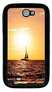 Sailing Sea Boat Warm Sunset TPU Rubber Samsung Galaxy Note 2/ Note II/ N7100 Case Cover - Black