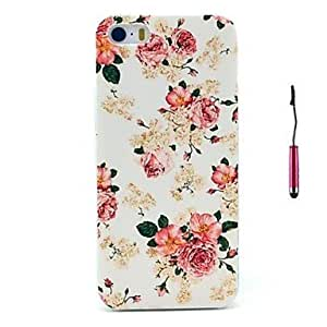 The Blooming Roses Pattern PC Hard Back Cover Case with Touch Pen for iPhone 5/5S