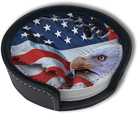 American Usa Flag Eagle Patriot Home Decor Mark Cup Mat Pu Leather Set Of 6 Dining Table Decorations Round Coasters Gift Ornament Beer Mats Car Coasters