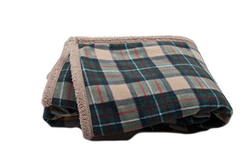 The Jack Green Red and Beige Plaid Throw with Faux Sherpa Reverse