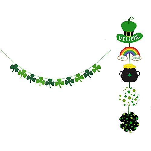 RareLove 2 Piece Set St. Patrick's Day Decoration Party Supplies Shamrock Clover Banner and Hanging Welcome Sign ()