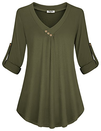 Hibelle V-Neck Blouse, Womens Decorative Button up Loose Fit Swing Hem Ladies Tunic Tops Roll 3/4 Length Sleeve Curve Hem Fall Winter Office Business Casual Shirts Army Green Large by Hibelle