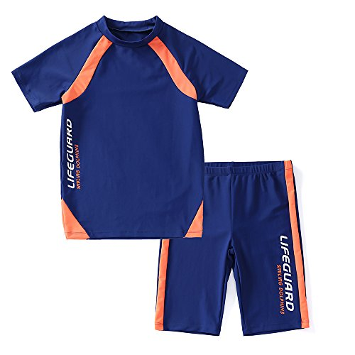 Boy Bathing Swimsuit - KID1234 Swimsuits for Boys - 2 Piece Set Boys Swimsuit,Wetsuit for Kids 4-12 Years (Blue, 6)
