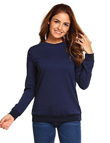 Sweatshirt Crewneck Lightweight (Zeagoo Women Solid Color Casual Crewneck Lightweight Sweatshirt Pullover(Navy,L))
