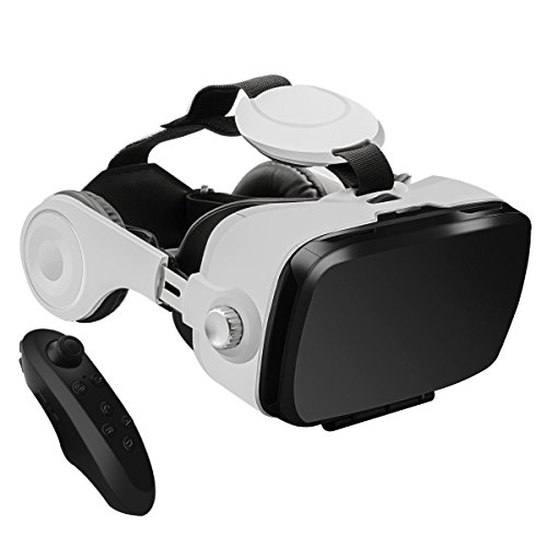"3D VR Glasses, YESSHOW 3D Virtual Reality Headset Box for Mobile Phone VR Games and 3D Movie with Remote Control Compatible with iPhone 6S/6 Plus/ 5S/5 Samsung S8/S7 and Other 4.0""-6.0"" Smartphones"