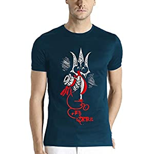 ADRO Men's Shiva Trishul Design Printed Cotton T-Shirt