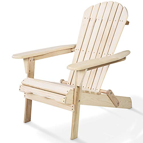 Giantex HW50296-FN Adirondack Chair Foldable Outdoor Fir Construction for Patio Garden Deck Furniture (Wood) (To Patio Cost Build)