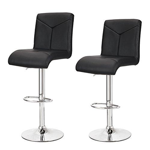 DecentHome Modern Adjustable Swivel Leather Stitched Cushion Seat Bar Stools, Black (Set of (Bar Stool Soft)