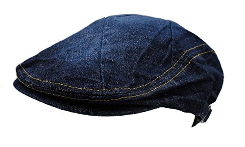 Men's Cotton Flat Cap Ivy Gatsby Newsboy Hunting Hat, Creased Blue Jean, One Size