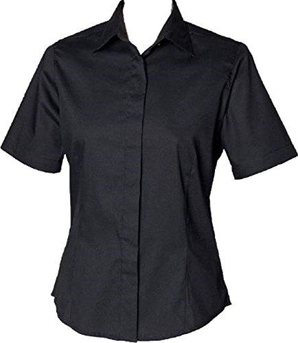 New Henbury Mujer Easycare camiseta de manga corta Oxford de bajera tamaños S-3X L negro