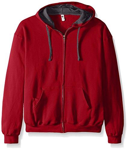 Fruit of the Loom Men's Full-Zip Hooded Sweatshirt, Cardinal, - Sweatshirt Adult Cardinal