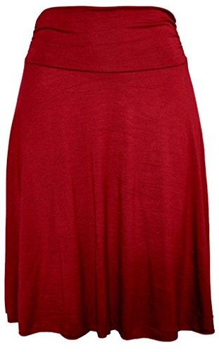 Stretch is Comfort Women's Plus Size Knee Length Flowy Skirt Burgundy 3X]()