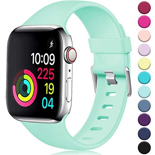 Laffav Sport Band Compatible with Apple Watch 40mm 38mm, Soft Strap Replacement Bands Compatible with iWatch Apple Watch Series 4 3 2 1, Mint Green, S/M