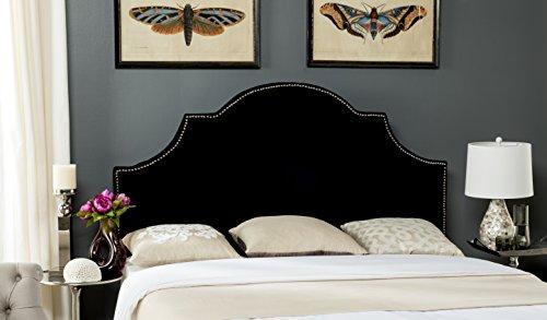 Arched Velvet Upholstered Headboard (Safavieh Mercer Collection Hallmar Black Velvet Arched Headboard (Queen))