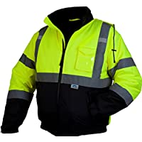 Pyramex RJ3210XL Hi-Vis Lime Safety Bomber Jacket with Quilted Lining, Extra Large, Green