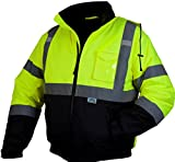 Pyramex RJ3210L Hi-Vis Lime Safety Bomber Jacket with Quilted Lining, Large, Green