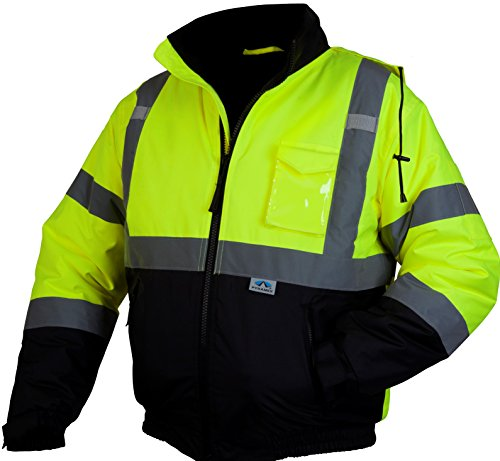 Pyramex RJ3210X2 Hi-Vis Lime Safety Bomber Jacket with Quilted Lining, XX-Large, Green (Ansi 3 Class Overalls)