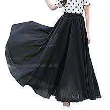 Qinol Womens Full/ankle Length Elastic Pleated Retro Maxi Chiffon Long Skirt