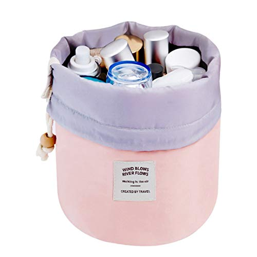 Mermaid Travel Cosmetic Bag Travel Makeup Bag Organizer Women Girls Barrel Shaped Hanging Toiletry Wash Bags Drawstring Makeup Storage Bag + Small Pouch+ Clear PVC Brush Bag (Pink)