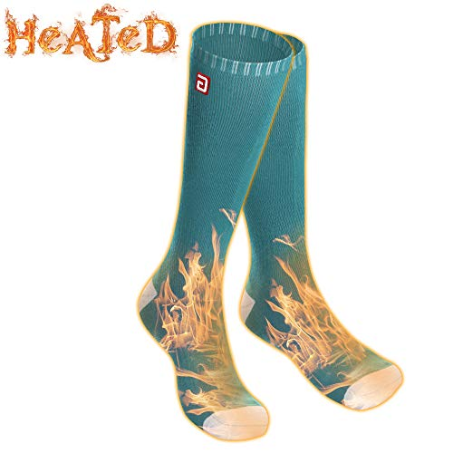 Men Women Electric Heated Socks,Rechargeable Battery Operated Heating Sox Kit,Embroidered Thermal Cotton Socks,Soft Winter Heat Insulated Stockings,Novelty Heated Sock for Sports& Outdoors(Green,M)