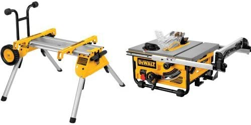 DEWALT DW7440RS Rolling Saw Stand with DW745 10-Inch Compact Job-Site Table Saw with 20-Inch Max Rip Capacity – 120V