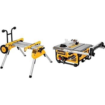 DEWALT DW7440RS Rolling Saw Stand with DW745 10-Inch Compact Job-Site Table Saw with 20-Inch Max Rip Capacity - 120V