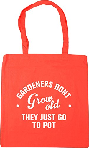 HippoWarehouse Gardeners don't grow old they just go to pot Tote Shopping Gym Beach Bag 42cm x38cm, 10 litres Coral