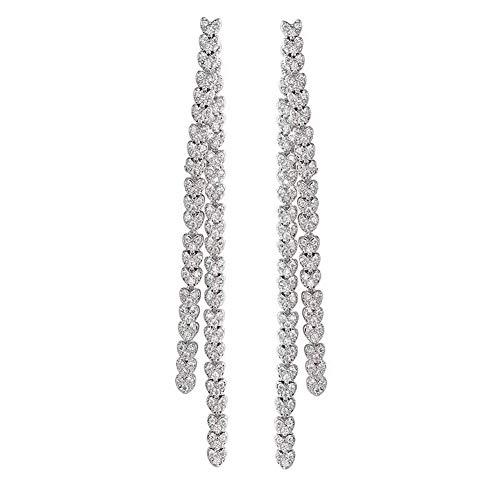 YESLADY White Tassel Earrings For Women CZ ()